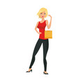 beauty blonde woman standing bag gift shopping vector image