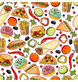 cartoon fast food seamless pattern vector image