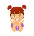 Children braces happy girl with white smile teeth vector image