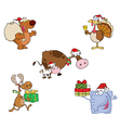 Christmas Animals-Collection vector image