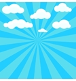 Clouds and blue sky with sunburst on background vector image
