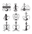 labels set for hookah and lounge club vector image