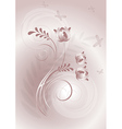 Pink background with swirling lines and butterflie vector image