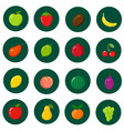 set of flat icons fresh natural fruits cartoon vector image