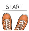 Summer trendy sports shoes Foot in the sports vector image