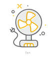 Thin line icons Fan vector image