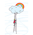 Man climbing to heaven with dream vector image
