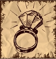 Ring with a big sparling diamond vector image vector image