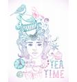 tea time girl vector image