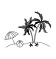 black silhouette of beach with palm trees and vector image
