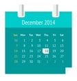 Flat calendar page for December 2014 vector image vector image
