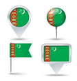 Map pins with flag of Turkmenistan vector image