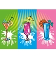 set of colorful sketch cocktails and drinks vector image