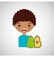 happy boy with delicious orange fruit design vector image