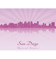 San Diego skyline in purple radiant orchid vector image vector image