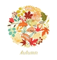 Background of autumn leaves in shape for greeting vector image