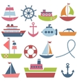 Colorful sea transport set vector image