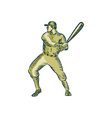 Baseball Player Batter Batting Bat Etching vector image