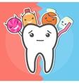 Sweets versus hygiene dental concept vector image