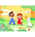 Boy girl and funny animals vector image