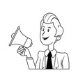 cartoon business man holding megaphone vector image