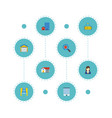 flat icons magnifier sold woman realtor and vector image