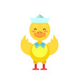 funny little yellow duckling sailor cartoon vector image