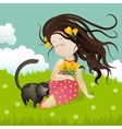 Girl with cat sitting on grass vector image
