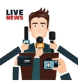 Interview to person on podium vector image