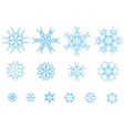 set of blue snowflakes vector image