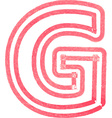 Capital letter G drawing with Red Marker vector image vector image