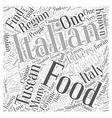 Tuscan Italian Food Word Cloud Concept vector image