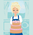housewife baked the cake vector image vector image