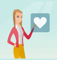 young woman pressing heart shaped button vector image vector image