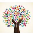 Colorful human hands solidarity tree vector image vector image