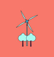 flat icon design collection wind turbine between vector image vector image