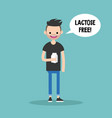 young bearded man holding a carton of lactose vector image