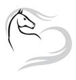 horse mane heart vector image vector image