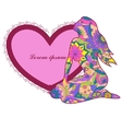 Heart shape banner with woman vector image