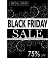 Black friday background with floral desorations vector image vector image