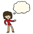cartoon girl pointing with thought bubble vector image