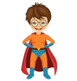 little boy dressed in a superhero costume vector image