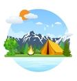 Summer landscape tent and bonfire vector image