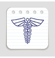 Caduceus emblem doodle icon vector image