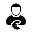 euro sign icon symbol currency male person avatar vector image