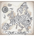 Europe Map on Vintage Handwriting Page vector image