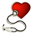 Heart and stethoscope vector image