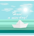 Paper ship origami sailing on waves vector image