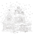 Santa on the housetop with gifts vector image