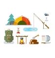 Fishing Hunting Items Flat Design vector image